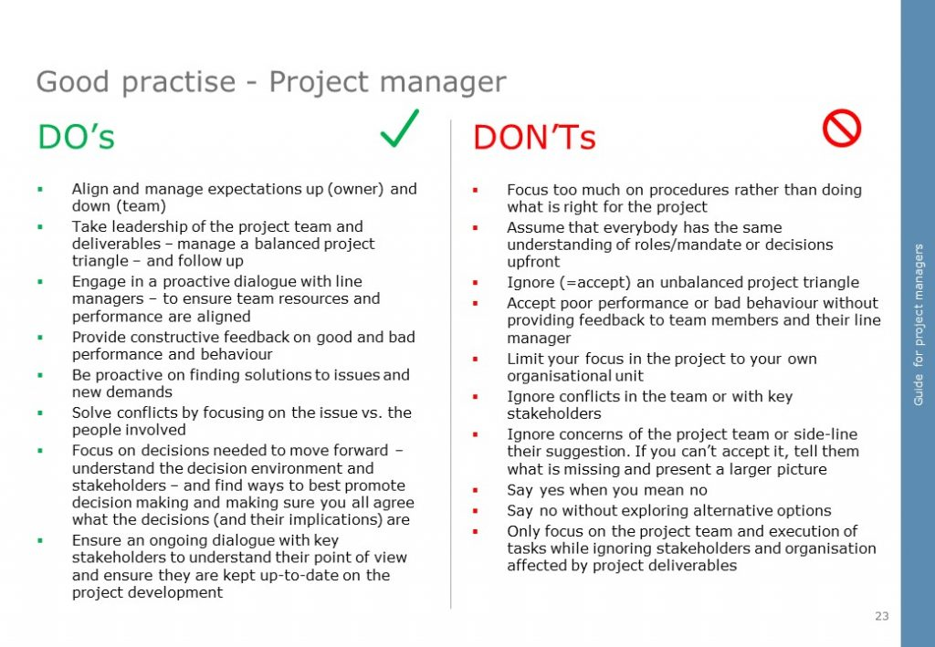 Project manager do-s and dont-s